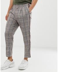 Pantalon chino à carreaux gris ASOS DESIGN