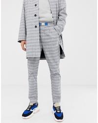 Pantalon chino à carreaux gris ASOS WHITE
