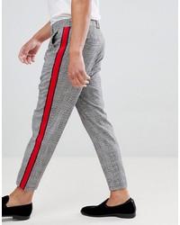 Pantalon chino à carreaux gris Bershka