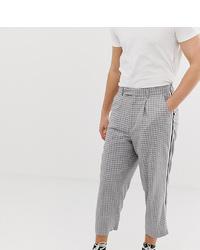 Pantalon chino à carreaux gris Noak