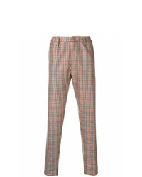 Pantalon chino à carreaux marron