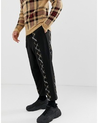 Pantalon chino à carreaux noir ASOS DESIGN