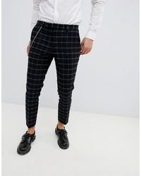 Pantalon chino à carreaux noir Twisted Tailor