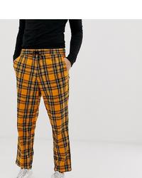 Pantalon chino à carreaux orange Collusion