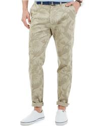 Pantalon chino à fleurs beige