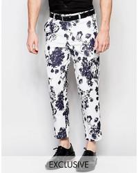 Pantalon chino à fleurs blanc Reclaimed Vintage