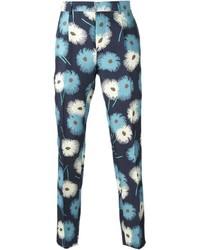 Pantalon chino à fleurs bleu marine