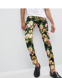Pantalon chino à fleurs bleu marine ASOS DESIGN