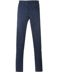 Pantalon chino à fleurs bleu marine Etro