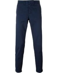 Pantalon chino à fleurs bleu marine Fay