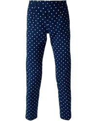 Pantalon chino à fleurs bleu marine Paolo Pecora