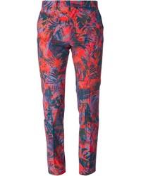 Pantalon chino à fleurs bleu marine Paul Smith