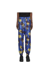 Pantalon chino à fleurs bleu