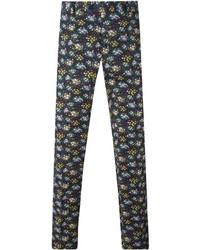 Pantalon chino à fleurs noir Etro