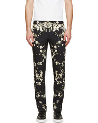 Pantalon chino à fleurs noir Givenchy
