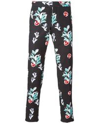 Pantalon chino à fleurs noir Thom Browne