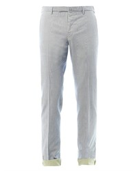 Pantalon chino à rayures verticales beige