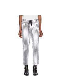 Pantalon chino à rayures verticales blanc