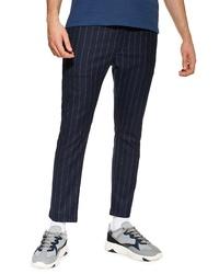 Pantalon chino à rayures verticales bleu marine