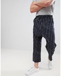 Pantalon chino à rayures verticales bleu marine ASOS DESIGN