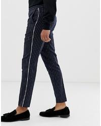 Pantalon chino à rayures verticales bleu marine Burton Menswear