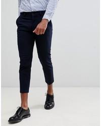 Pantalon chino à rayures verticales bleu marine Celio