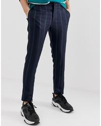 Pantalon chino à rayures verticales bleu marine Collusion