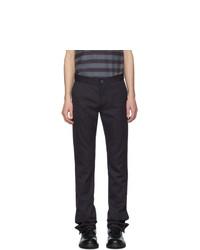 Pantalon chino à rayures verticales bleu marine Daniel W. Fletcher