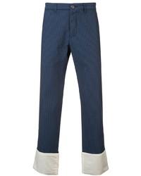 Pantalon chino à rayures verticales bleu marine Loewe