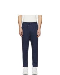 Pantalon chino à rayures verticales bleu marine Moncler
