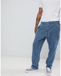 Pantalon chino à rayures verticales bleu