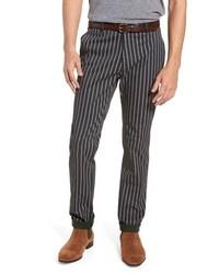 Pantalon chino à rayures verticales gris foncé