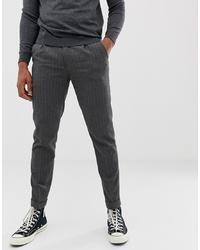 Pantalon chino à rayures verticales gris foncé Burton Menswear