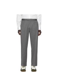 Pantalon chino à rayures verticales gris foncé Loewe