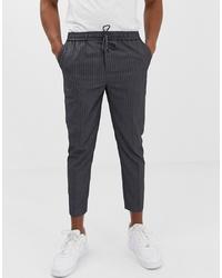 Pantalon chino à rayures verticales gris foncé New Look