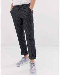 Pantalon chino à rayures verticales gris foncé Pier One