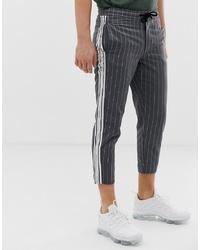 Pantalon chino à rayures verticales gris foncé Siksilk