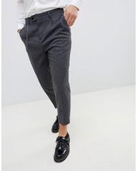 Pantalon chino à rayures verticales gris foncé Twisted Tailor