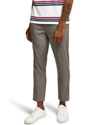 Pantalon chino à rayures verticales gris