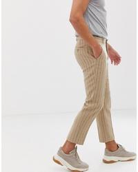 Pantalon chino à rayures verticales marron clair