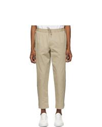 Pantalon chino à rayures verticales marron clair Moncler