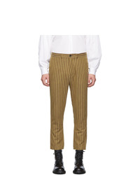 Pantalon chino à rayures verticales marron