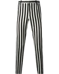 Pantalon chino à rayures verticales noir et blanc