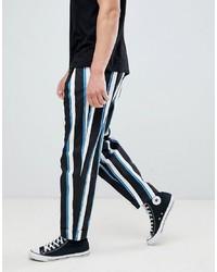 Pantalon chino à rayures verticales noir et blanc ASOS DESIGN