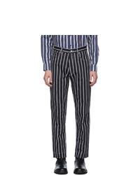 Pantalon chino à rayures verticales noir et blanc Daniel W. Fletcher