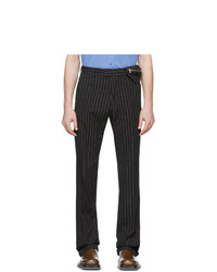 Pantalon chino à rayures verticales noir et blanc Dries Van Noten
