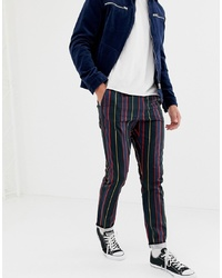 Pantalon chino à rayures verticales noir ASOS DESIGN