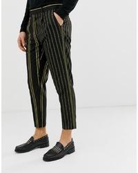 Pantalon chino à rayures verticales noir ASOS Edition