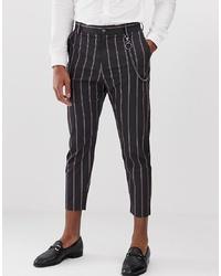 Pantalon chino à rayures verticales noir Bershka