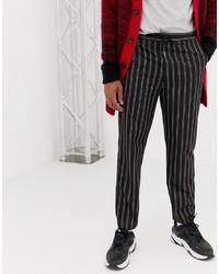 Pantalon chino à rayures verticales noir Collusion